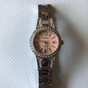 Genuine fossil watch with cubic zirconia